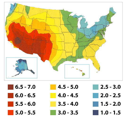 usa solar map large Calculate Solar Array Size